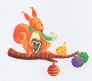 Un sapin décoré pour l'écureuil001